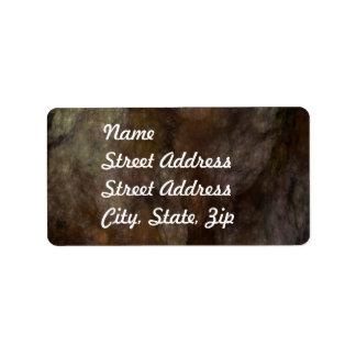 Black & Brown Abstract Fractal Address Sticker Label