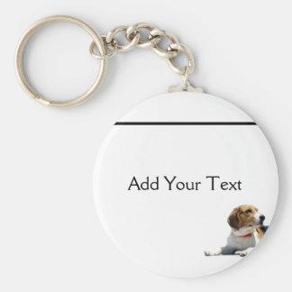 Black Brown and White Beagle Dog Keychain