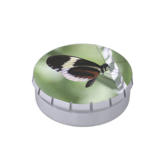 Black Brown and White Butterfly Jelly Belly Candy Tin