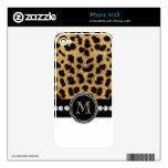 Black Brown Cheetah Fur Print iPhone 4 Skin