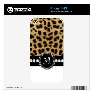 Black Brown Cheetah Fur Print iPhone 4 Skin