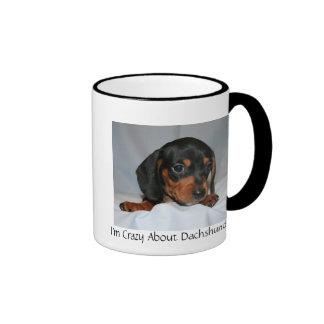 Black/Brown Dachshund Pup Ringer Coffee Mug