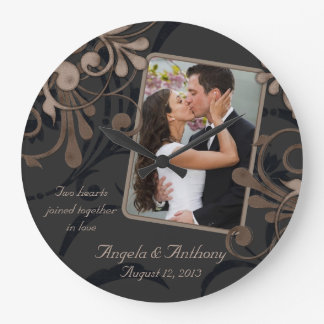Black Brown Floral Personalized Photo Template Large Clock