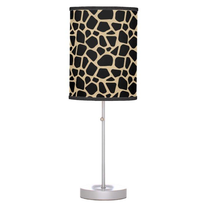 Black Brown Giraffe Print Table Lamp, Giraffe Print Floor Lamp