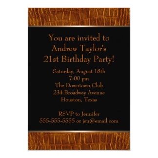 Black Brown Leather Mans 21st Birthday Party 5x7 Paper Invitation Card