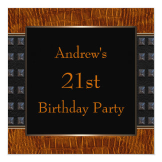 Black Brown Leather Mans 21st Birthday Party Invitation