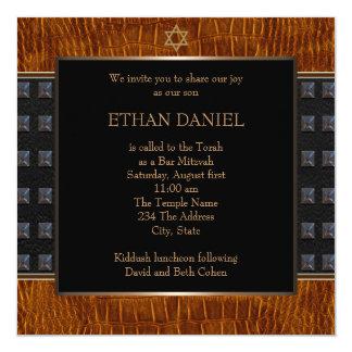 Black Brown Leather Star of David Bar Mitzvah Card