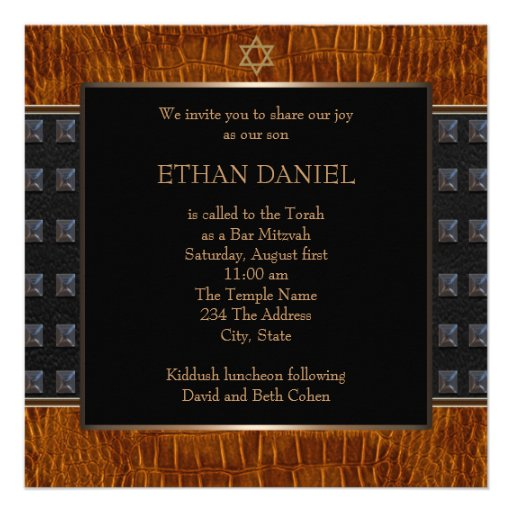 Black Brown Leather Star of David Bar Mitzvah Custom Announcement