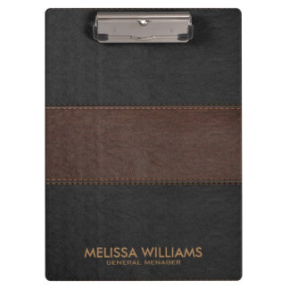 Black & Brown Leather Stitches Effect Clipboard