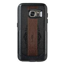 Black & Brown Leather Texture Monogram OtterBox Samsung Galaxy S7 Case