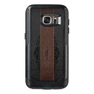 Black & Brown Leather Texture Monogram OtterBox Samsung Galaxy S7 Case