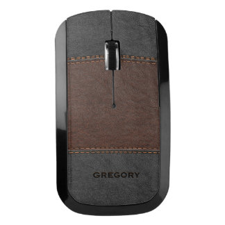 Black & Brown Leather With Stitches Effect Wireless Mouse