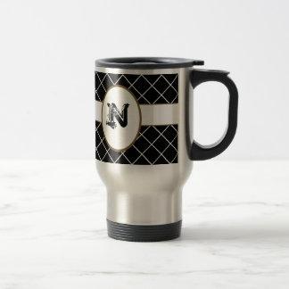 Black Brown Monogrammed Mens Mug