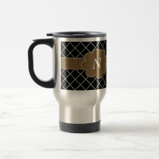 Black Brown Monogrammed Mens Travel Mug