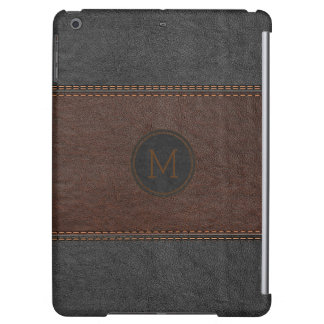 Black & Brown Old Leather Look Stitches Effect iPad Air Cases