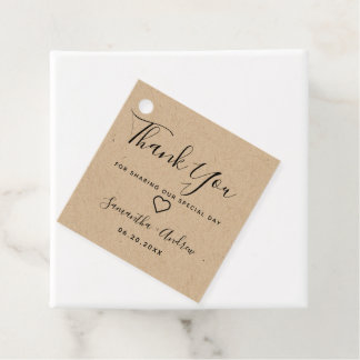 black brown rustic kraft thank you wedding favor tags