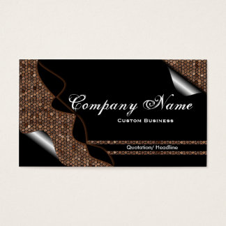 Black & Brown Stained Glass Tile Business Cards