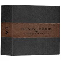 Black & Brown Stitched Leather Black 3 Ring Binder