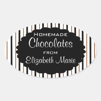 Black & Brown Stripes-Homemade Oval Sticker
