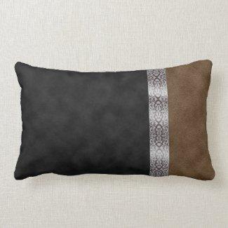 Black Brown Suede Art Nouveau Silver Satin Ribbon Throw Pillow