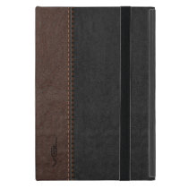Black & Brown Vintage Leather Case For iPad Mini