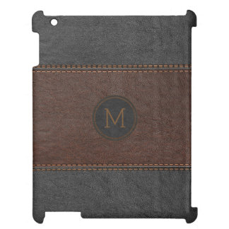 Black & Brown Vintage Leather Stitches Effect Cover For The iPad 2 3 4