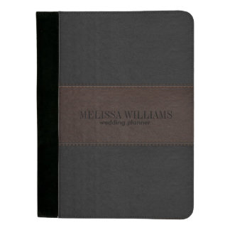 Black & Brown Vintage Leather & Stitches Padfolio