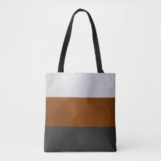 Black, Brown, White Faux Leather - Tote Bag