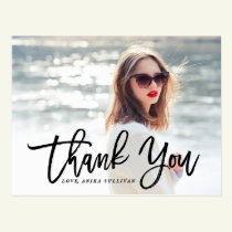 Black Brush Calligraphy | Graduation Thank You Postcard