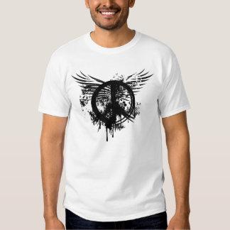 Black Brush Peace symbol and Splatter Wings Tshirt