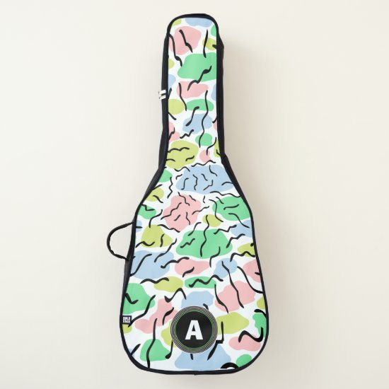 Black brush strokes and pastel shapes guitar case