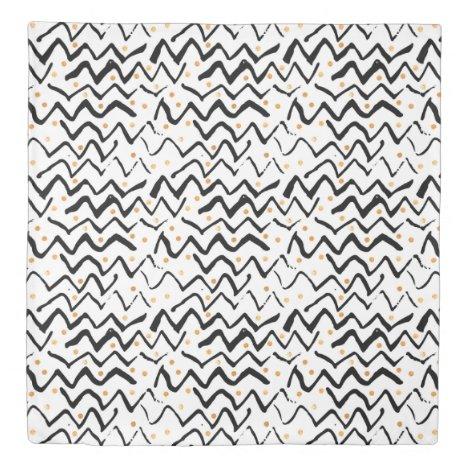 Black Brush Strokes & Dots Pattern Duvet Cover