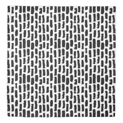 Black Brush Strokes Pattern Duvet Cover