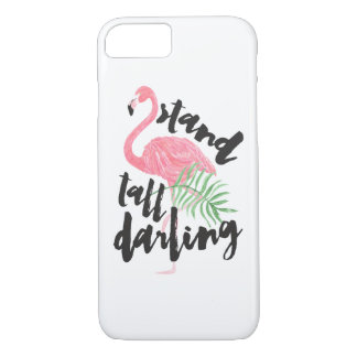 Black brush typography stand tall pink flamingo iPhone 7 case