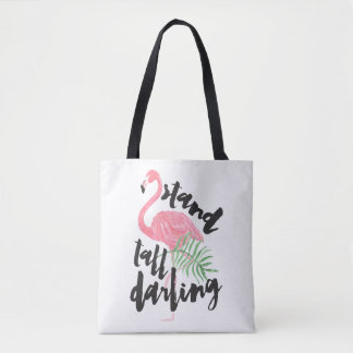 Black brush typography stand tall pink flamingo tote bag
