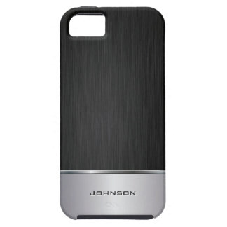 Black Brushed Metal Look with Silver Bar | iPhone 5 Cases