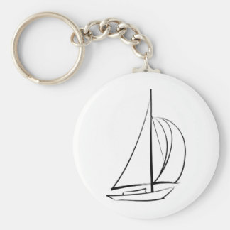 Black Brushstroke Sailboat Basic Round Button Keychain