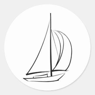 Black Brushstroke Sailboat Classic Round Sticker