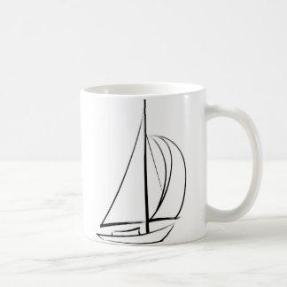 Black Brushstroke Sailboat Coffee Mug