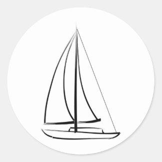 Black Brushstroke Schooner Classic Round Sticker
