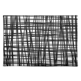Black Brushstroke Watercolor Stripes Cloth Placemat
