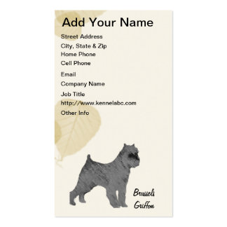 Black Brussels Griffon on Tan Leaves Designs Business Card Templates