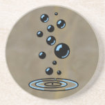Black bubbles with blue reflection beverage coasters