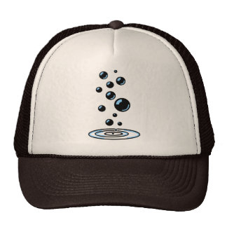 Black bubbles with blue reflection trucker hat
