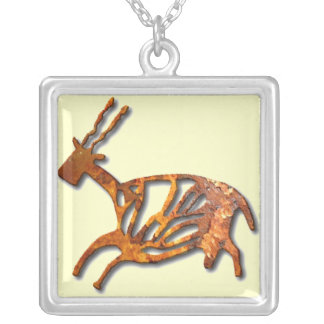 Black Buck - rust Square Pendant Necklace
