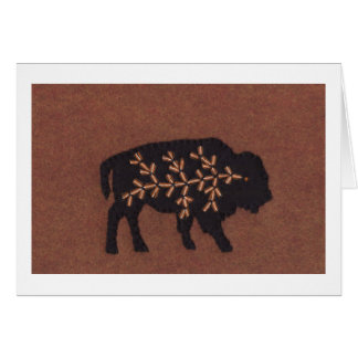 Black Buffalo on Brown Stationery Note Card