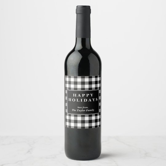 Black Buffalo Plaid Pattern Christmas Gift Wine Label | Zazzle.com
