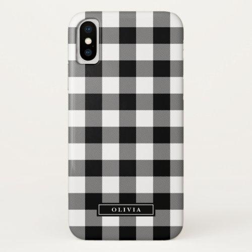 Black Buffalo Plaid Pattern Name Phone Case