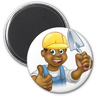 Black Builder Bricklayer Worker With Trowel Tool Magnet
