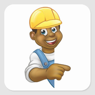 Black Builder Contractor Pointing Square Sticker